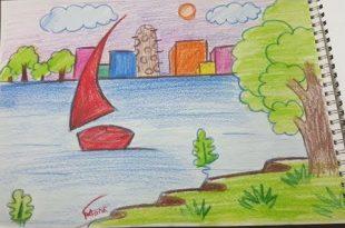 صوره رسم منظر طبيعي للاطفال , تعلم طريقه رسم مناظر طبيعيه للاطفال