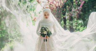 صوره فساتين زفاف للمحجبات , بالفستان والحجاب والطرحة كوني كالملكة يوم زفافك
