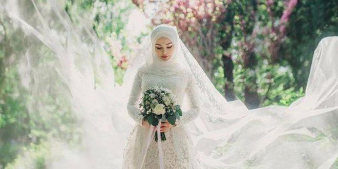صور فساتين زفاف للمحجبات , بالفستان والحجاب والطرحة كوني كالملكة يوم زفافك