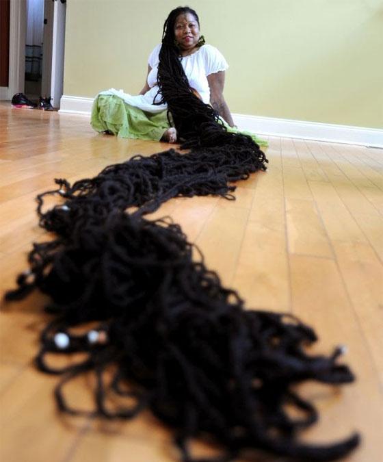 صوره اطول شعر في العالم , صاحبة الشعر الطويل فى الكون