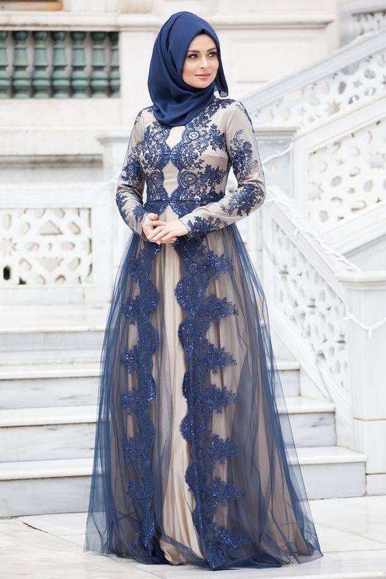 بالصور فساتين سواريه للمحجبات 2019 , اشيك الفساتين السواريه للمحجبات 6724 11