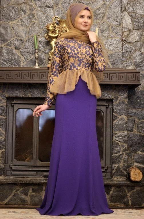 بالصور فساتين سواريه للمحجبات 2019 , اشيك الفساتين السواريه للمحجبات 6724 12