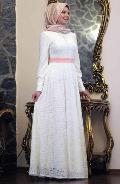 بالصور فساتين سواريه للمحجبات 2019 , اشيك الفساتين السواريه للمحجبات 6724 13