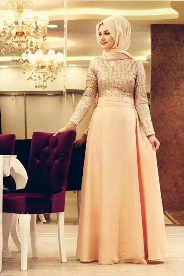 بالصور فساتين سواريه للمحجبات 2019 , اشيك الفساتين السواريه للمحجبات 6724 3