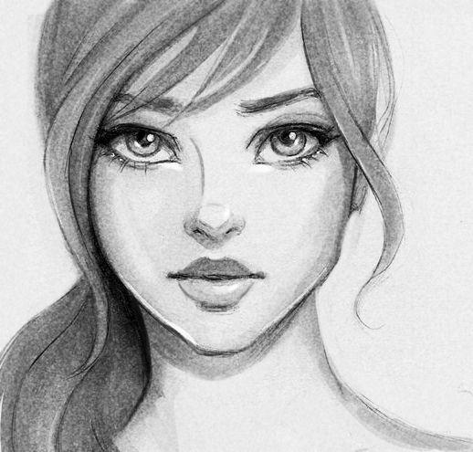 بالصور رسومات بنات جميلة , اسكتشات سهلة الرسم بالقلم الرصاص لوجوه فتيات رقيقة 1363 5