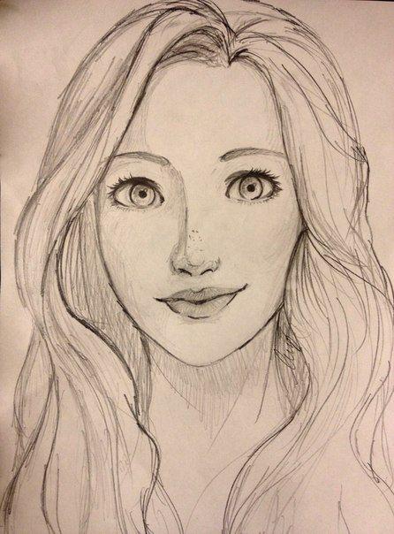 بالصور رسومات بنات جميلة , اسكتشات سهلة الرسم بالقلم الرصاص لوجوه فتيات رقيقة 1363 8