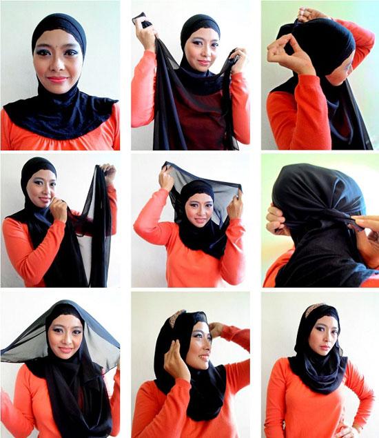 بالصور كيفية استعمال الخمار , اريد طرق جديدة للف الحجاب 13470 10