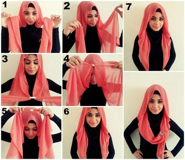 بالصور كيفية استعمال الخمار , اريد طرق جديدة للف الحجاب 13470 9