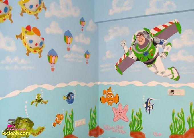 بالصور رسومات جدران للاطفال , حوائط كرتون للاطفال