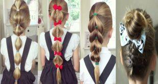 صورة تسريحات شعر للمدرسة سهلة وسريعة بالخطوات , احدث قصات الشعر لطفلتك